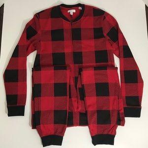 Rails red chili/black check onesie pajamas NWT